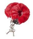 Наручники с мехом красные
