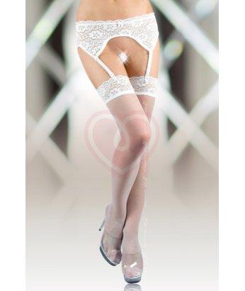 Чулки с поясом и кружевной резинкой Soft Line Collection белые