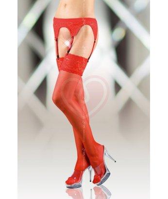 Чулки с поясом и кружевной резинкой Soft Line Collection красные