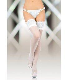 Чулки на широкой кружевной резинке Soft Line Collection белые