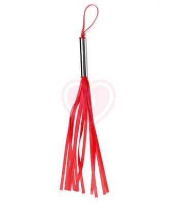Латексная мини-плеть с металлической ручкой красная