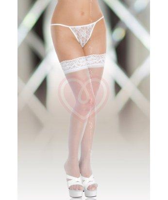 Чулки на кружевной резинке Soft Line Collection белые