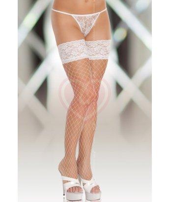 Чулки в крупную сетку Soft Line Collection белые