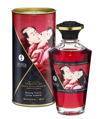 Съедобное согревающее масло Shunga Пылающая вишня 100мл