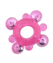 Кольцо эрекционное со стимулирующими шариками розовое