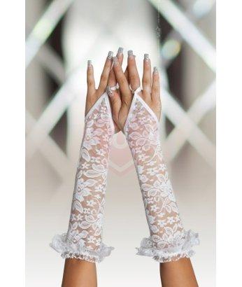 Перчатки длинные кружевные Soft Line Collection белые