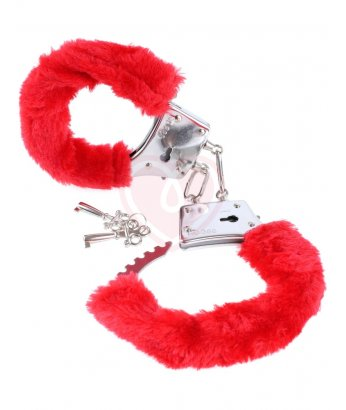 Наручники с мехом Pipedream Beginners Cuffs красные