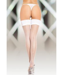 Чулки в мелкую сетку со швом сзади Soft Line Collection белые
