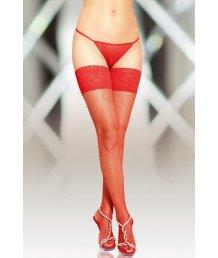 Чулки в мелкую сетку со швом сзади Soft Line Collection красные