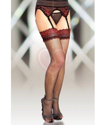Чулки в мелкую сеточку с поясом Soft Line Collection черные с красной вышивкой