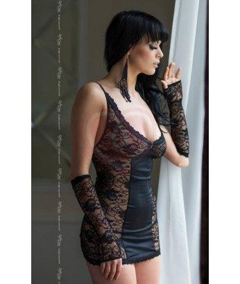 Комбинация на шнуровке, трусики и перчатки Soft Line Collection чёрные