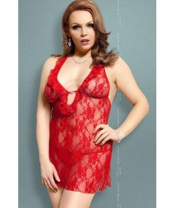 Комбинация с глубоким декольте и трусики Soft Line Collection красные Plus size