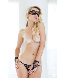 Кружевной комплект стринги, маска и перчатки Soft Line Collection черные O/S