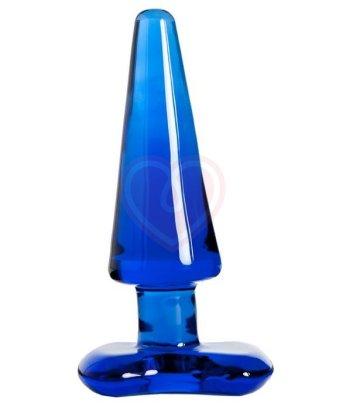Стеклянная анальная пробка Sexus Glass Sky синяя