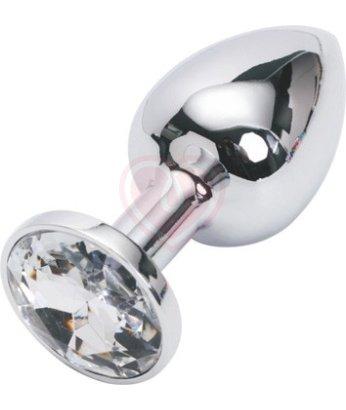 Подарочная малая анальная пробка Jewelry Butt Plug Silver Diamond серебряная с алмазом