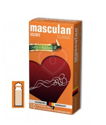 Презервативы с колечками и пупырышками Masculan Classic Dotty and Ribbed 10шт