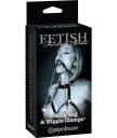 Расширитель для рта с зажимами на соски Pipedream O-Ring Gag & Nipple Clamps