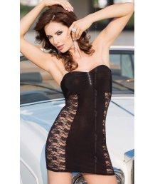 Платье с ажурными вставками по бокам Soft Line Collection черное