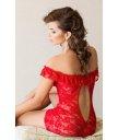 Комбинация с открытыми плечами и трусики Soft Line Collection красные