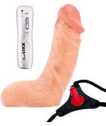 Страпон с реалистичным вибратором Toyfa Realstick Strap-on 13см