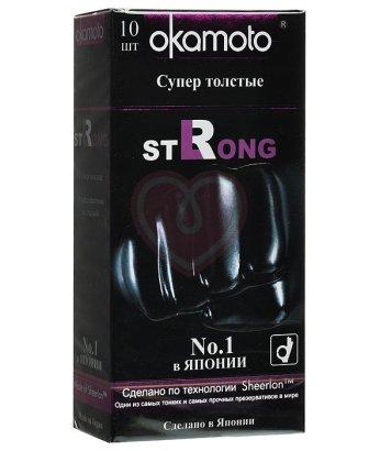 Особо прочные презервативы Okamoto Strong чёрного цвета 10шт