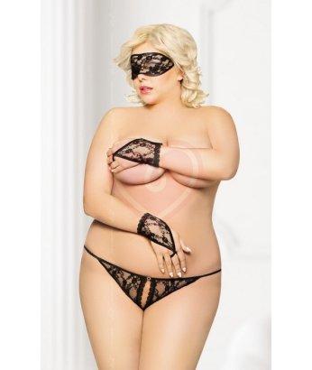 Кружевной набор стринги, маска и перчатки SoftLine Collection чёрные