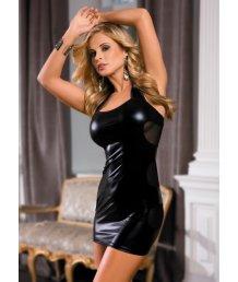 Платье c wetlook-эффектом черное O/S