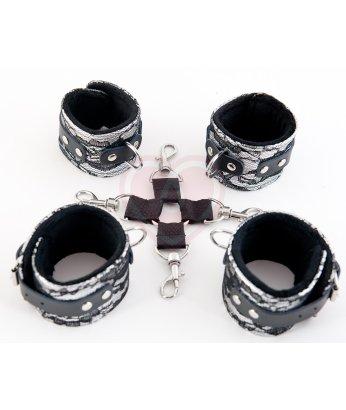 Кружевной бондажный комплект ToyFa Marcus серебряный