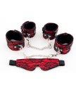 Кружевной набор с наручниками, оковами и маской ToyFa Marcus красный