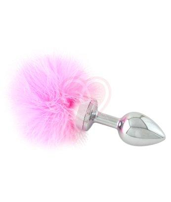 Маленькая металлическая анальная пробка с розовым хвостиком
