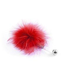 Щекоталка с пушистым мехом и прозрачной ручкой ToyFa Theatre красная