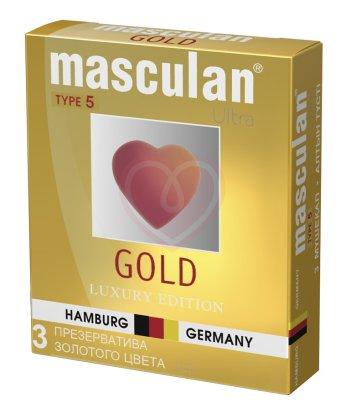 Презервативы золотого цвета Masculan Ultra 5 Gold с ароматом ванили 3шт