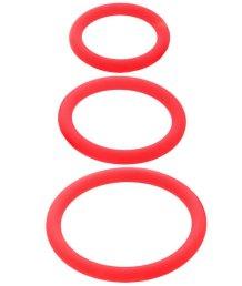 Набор эрекционных колец ToyFa Black&Red красный