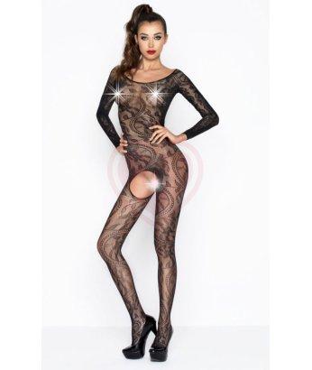 Костюм-сетка с вырезом и длинными рукавами Passion Erotic Line черный