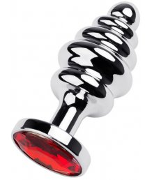 Легкая маленькая рельефная анальная пробка ToyFa Metal с красным кристаллом