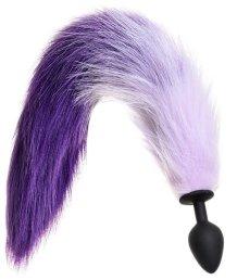 Силиконовая анальная пробка с бело-фиолетовым хвостом Popo Pleasure M