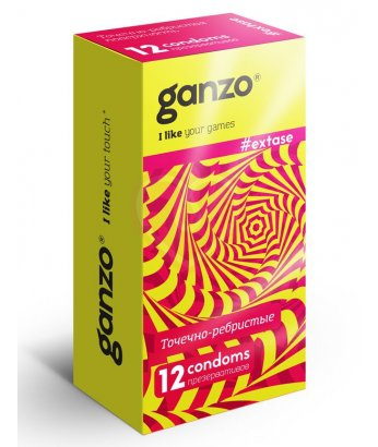 Презервативы Ganzo Extase с точечной и ребристой поверхностью 12шт