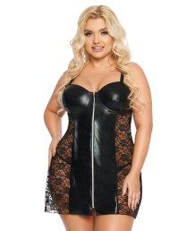 Платье со вставкой wetlook SoftLine Collection Marion черный