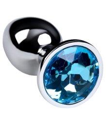 Маленькая анальная пробка с голубым кристаллом ToyFa Metal