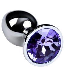 Маленькая анальная пробка с фиолетовым стразом ToyFa Metal