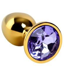 Золотая анальная мини пробка со стразом фиолетового цвета ToyFa Metal