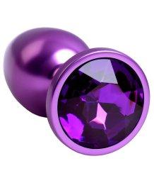 Маленькая анальная пробка с кристаллом ToyFa Metal фиолетовая