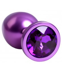 Анальная пробка с кристаллом ToyFa Metal фиолетовая