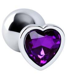 Маленькая анальная пробка с фиолетовым стразом-сердечко ToyFa Metal