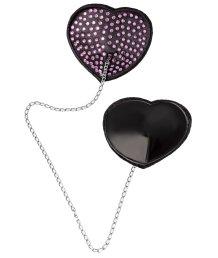 Пэстисы-сердечки чёрные с розовыми стразами и цепочкой