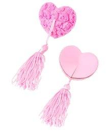 Пэстисы в форме сердец с розами и кисточками розовые