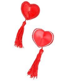 Пэстисы в форме сердец с окантовкой и кисточками красные