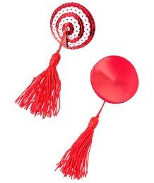 Пэстисы круглые с кисточками красно-белые