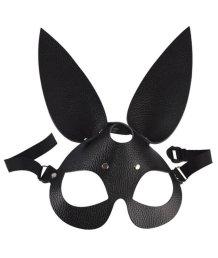 Элегантная маска зайки из гладкой кожи черная