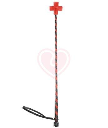 Стек с оплёткой из кожи и шлепком крестом чёрно-красный